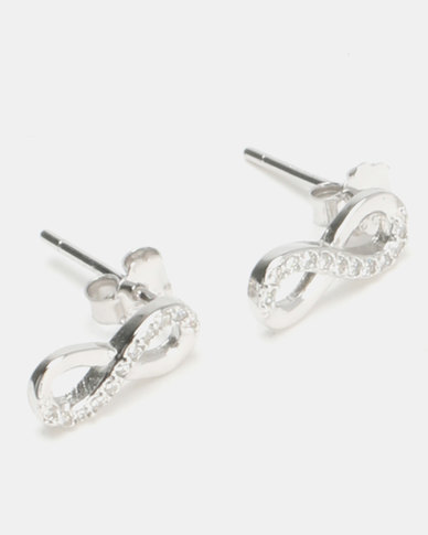 38254ac53 Silver Bird Sterling Silver CZ Infinity Stud Earrings Silver | Zando