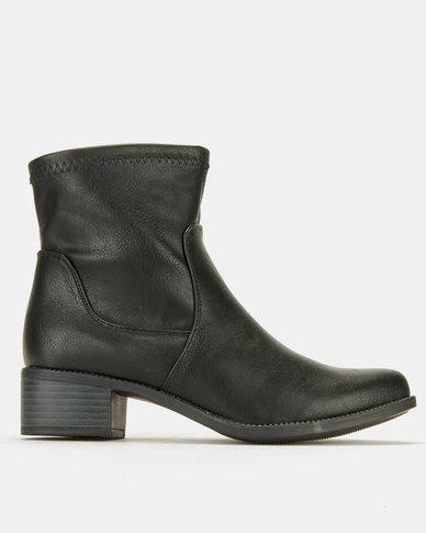 Utopia Flat Ankle Boots Black PU