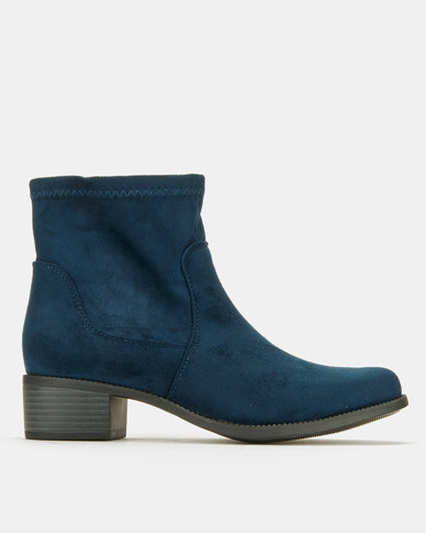 Utopia Flat Ankle Boots Navy MF