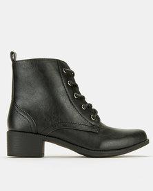 Utopia Flat Combat Boots Black