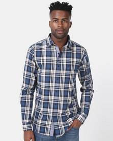 JCrew Blue Check Long Sleeve Shirt