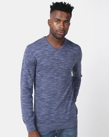 JCrew V Neck Slub Jersey Blue