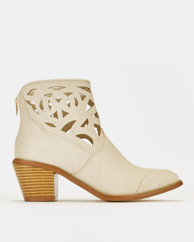 Queenspark Cutout Ankle Boots Beige
