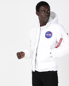Alpha Industries Apollo 11 Puffer Hooded Jacket White