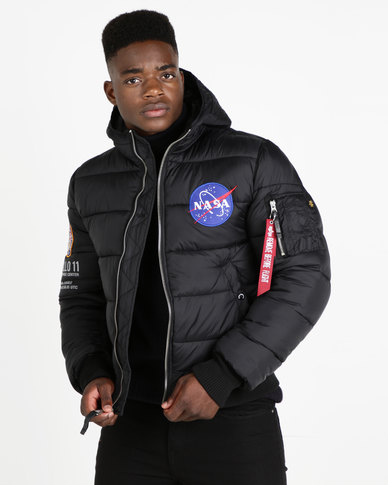 Alpha Industries Apollo 11 Puffer Hooded Jacket Black