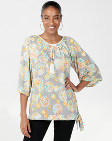 Queenspark Rainbow Knit Top Khaki