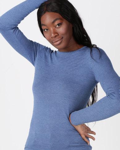 Queenspark Ottoman Melange Core Knitwear Jersey Blue
