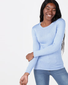 Queenspark Crewneck Melange Core Jersey Light Blue