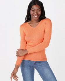 Queenspark V-Neck Melange Core Jersey Orange