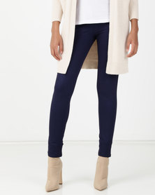 Queenspark Stretch Knit Jeggings Blue