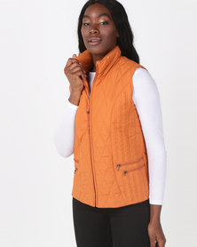 Queenspark Ladies Woven Quilted Zip through Sleeveless Gilet Orange