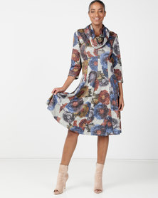 Queenspark Multicoloured Printed Fit & Flare Dress With Snood Multi