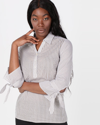 Queenspark Voile striped 3/4 Sleeve Placket Woven Shirt Taupe