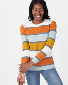 Queenspark Multistripe Luxury Crewneck Knitwear Multi
