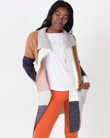 Queenspark Amazing Colourblock Coatigan Knitwear Multi