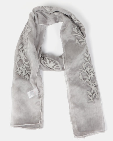 Queenspark Embroidered Flower Mesh Scarf Taupe
