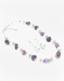 Queenspark Amethyst And Pearl Necklace And Drop Earrings Set Lilac
