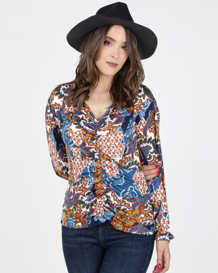 2b70ed1e09dbe Utopia Print Bell Sleeve Knit Top Orange Blue. Quick View
