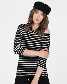 Utopia Asymmetrical Top Black/White Stripe