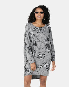 Revenge Flower Print Tunic Top Grey