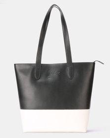 Julz Emma Leather Tote Black & White