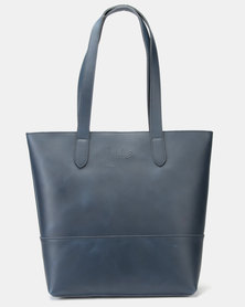 Julz Emma Leather Tote Navy