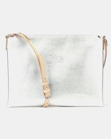 Julz Monique Leather Sling Bag Silver
