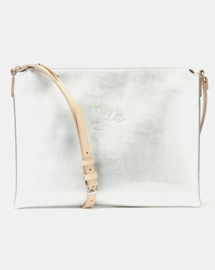 15b44710d7e Julz Monique Leather Sling Bag Silver
