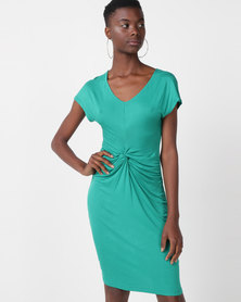 Utopia Viscose Knit Knot Dress Green
