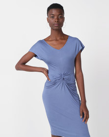 Utopia Viscose Knit Knot Dress Blue