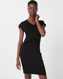 Utopia Viscose Knit Knot Dress Black