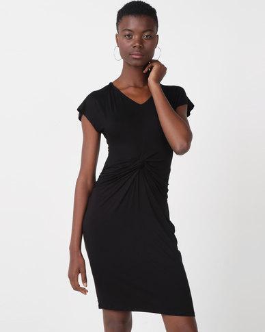 Utopia Viscose Knit Knot Dress Black