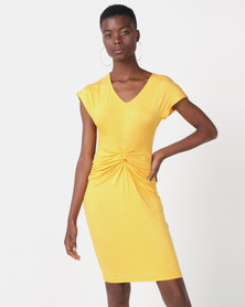 Utopia Viscose Knit Knot Dress Yellow