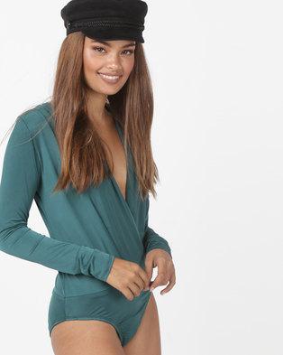 3b2dc8359d5189 Utopia Print Slinky Deep V Bodysuit Emerald