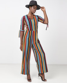 Utopia Striped Jumpsuit Burgundy/Mustard
