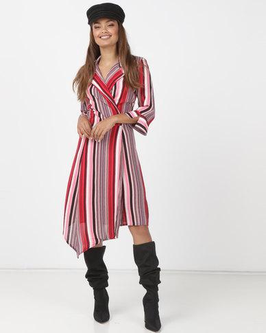 Utopia Stripe Viscose Wrap Dress Red