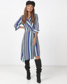 Utopia Stripe Viscose Wrap Dress Blue
