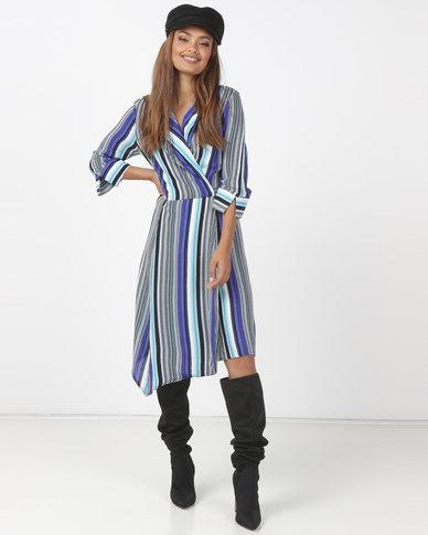 Utopia Stripe Viscose Wrap Dress Blue