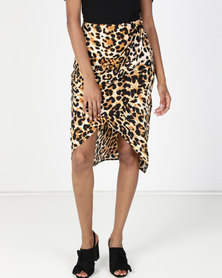 Utopia Animal Print Wrap Skirt Brown