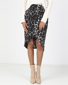 Utopia Animal Print Wrap Skirt Grey