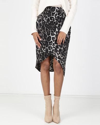 Utopia Animal Print Wrap Skirt Grey