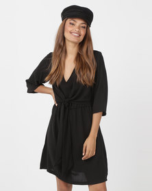 Utopia Tie Front Tunic Dress Black
