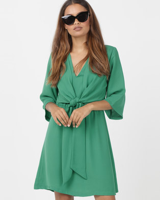 Utopia Tie Front Tunic Dress Green