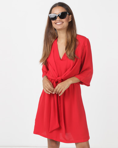 Utopia Tie Front Tunic Dress Red