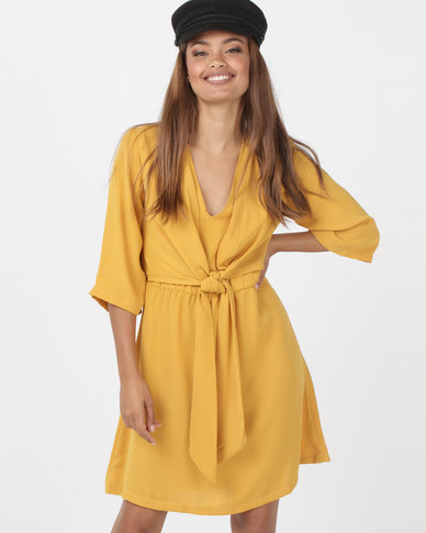 Utopia Tie Front Tunic Dress Yellow