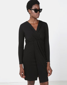Utopia Black Knit Wrap Dress