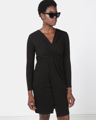 Utopia Black Knit Wrap Dress