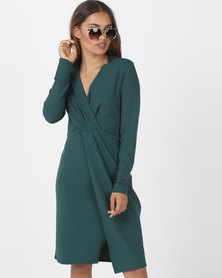 Utopia Knit Wrap Dress Green