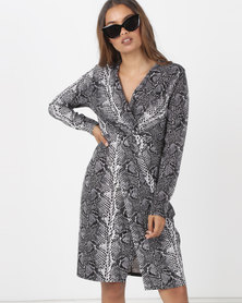 Utopia Knit Wrap Dress Snake Print