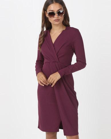 Utopia Knit Wrap Dress  Purple